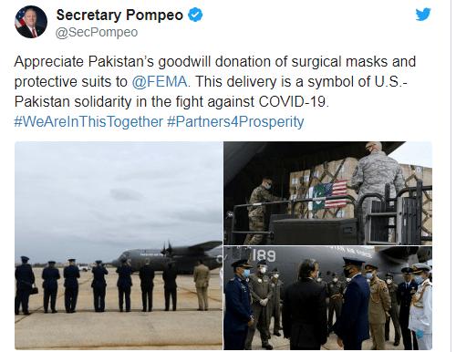 کرونا ويروس: کویډ۱۹ سره د مبارزې په برخه کې امريکا سره پاکستان مرسته وکړه